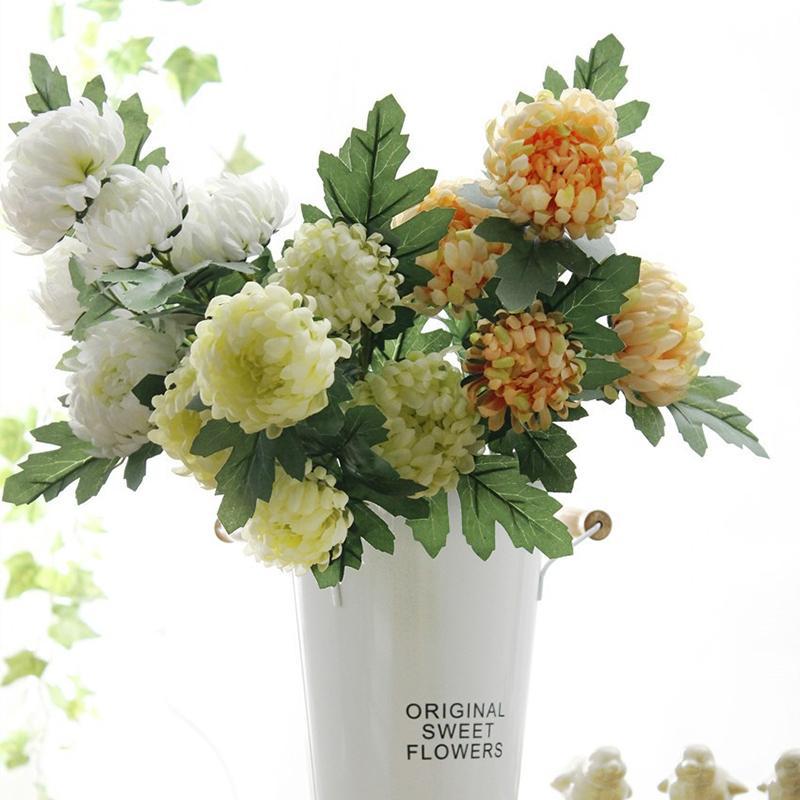 5 Chefe de seda Camellia Flores Rose Artificial plástico haste longa falsificação flor para o casamento decoração Home