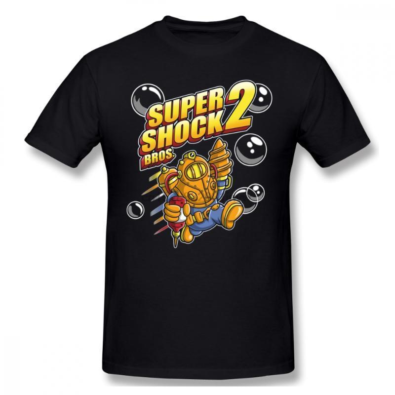Novelty Super BioShock Bros 2 Big Daddy T Shirt Unique Design For Man New Game Custom Tee Shirt Free Shipping