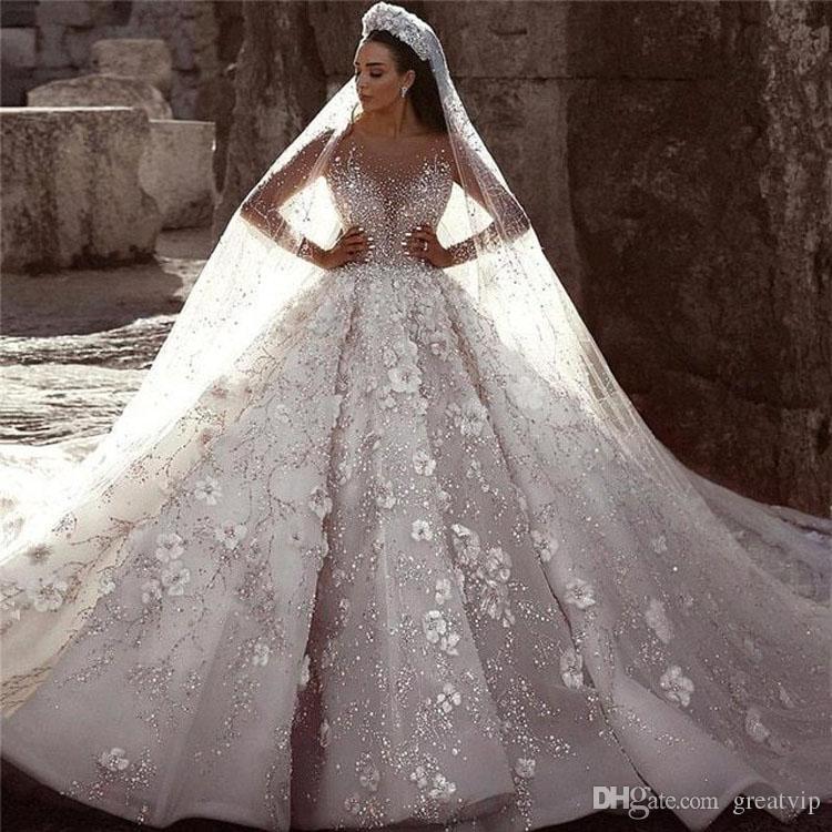Fall African Dubai Luxus Ballkleider Brautkleider Voll glänzenden Pailletten wulstige Sheer Neck Brautkleider 3D Blumeapplique Brautkleid