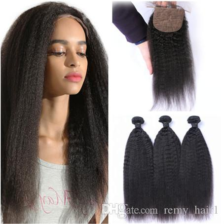 Kinky Straight Brazilian Virgin Human Hair Bundles Deals 3Pcs with Silk top Closure Coarse Yaki 4x4 Silk Base Closure with Weaves 4Pcs Lot