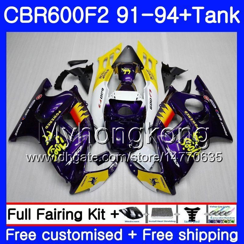 Corpo + Tanque Para HONDA CBR 600F2 CBR600FS CBR600F2 91 92 93 94 288HM.0 CBR 600 F2 FS CBR600 F2 1991 1992 1993 1994 Kit de carenagem Novo CAMEL roxo