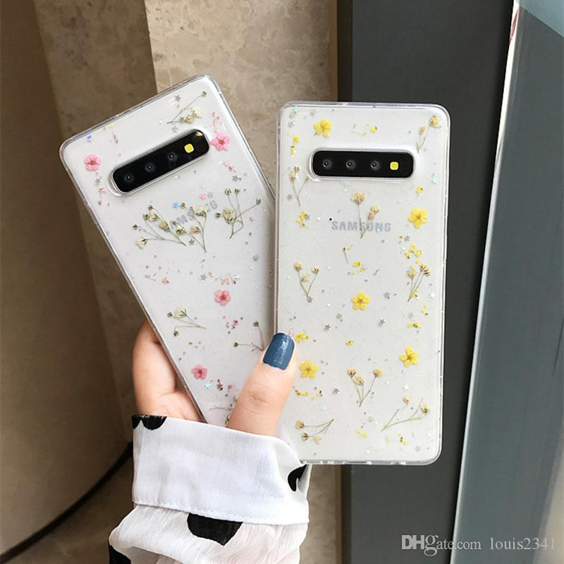 Per Samsung Galaxy Note 10 Copertura 9 reale Dry Flower lusso Cassa molle libera del telefono di caso per Samsung S10 S9 più