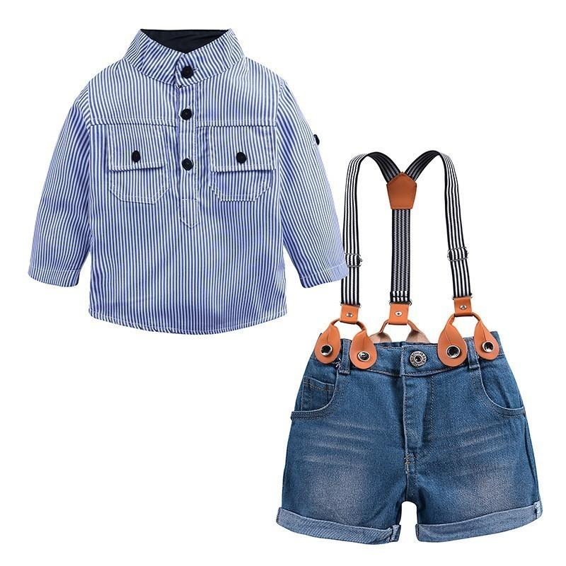 Summer Baby Boys Denim Sets Clothing Blue Striped Casual Shirts Suspender Shorts Jeans Pants 2PC Suits Costume Kids Clothes