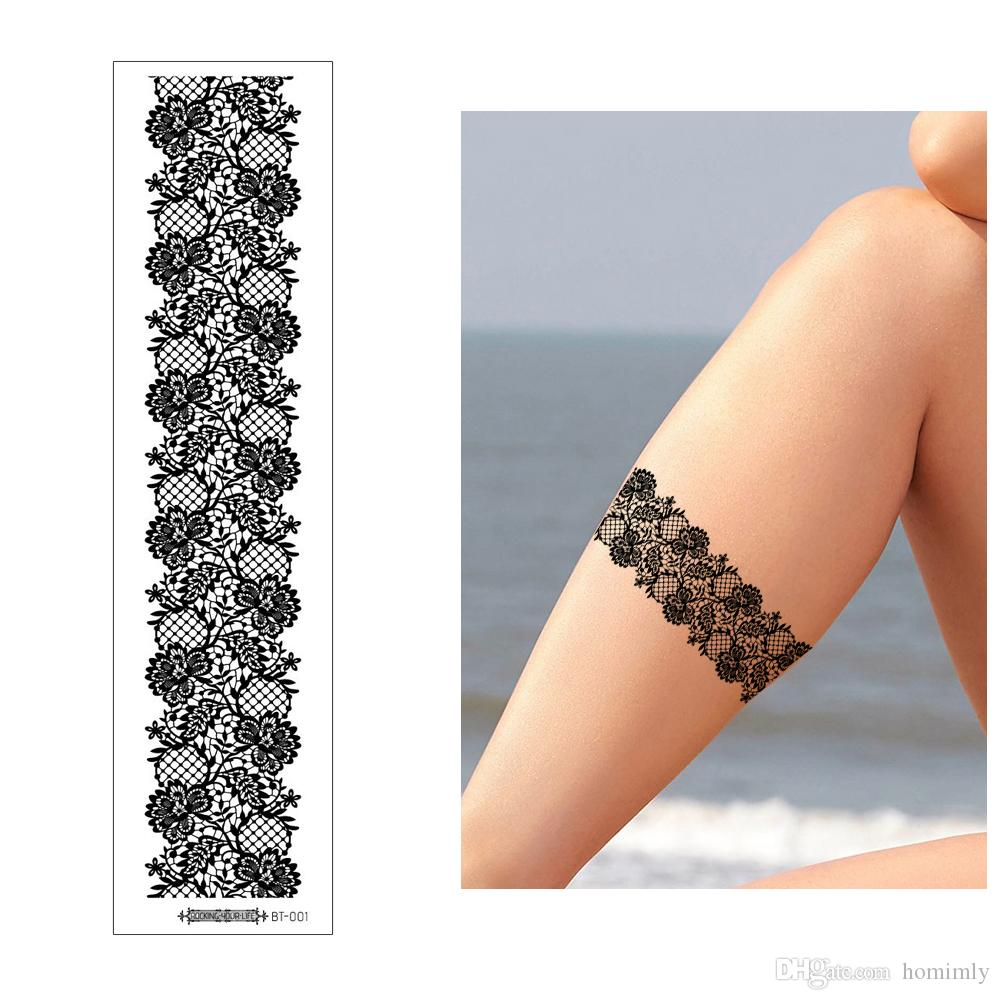 Black Temporary Body Art Tattoo Henna Lace Sticker Sexy Flower Hollow Designs for Woman Wrist Leg Jewelry Makeup Tool Tattoos Transfer Paper