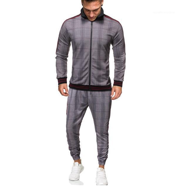 PCS مجموعة ربيع الخريف الرجال 2020 فاخر مصمم أزياء رياضية الرقمية طباعة منقوشة الرجال عارضة الملابس الرياضية 2