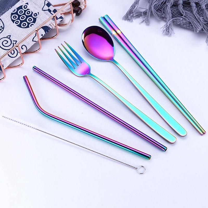 Paslanmaz Çelik Yaratıcı Titanyum Kaplama Çevre Dostu Taşınabilir bulaşığı 304 Paslanmaz Çelik Kaşık Chopsticks Seti suctio