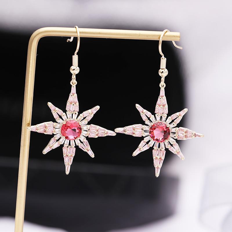 Großhandel Neue Modeschmuck S925 Silber Nadel Rosa Kristall Zirkonia Stern Design Baumeln Ohrringe Für Frauen S528