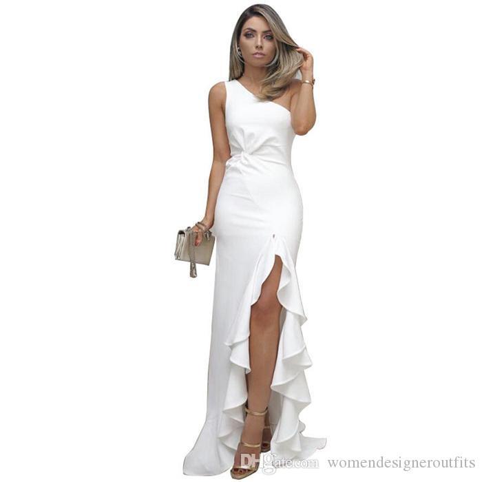 Женщины Летние Шикарное Вечернее Платье Дизайнерское Платье Rauffled Большие качели Открыть Убрать Сплошной Цвет Мода