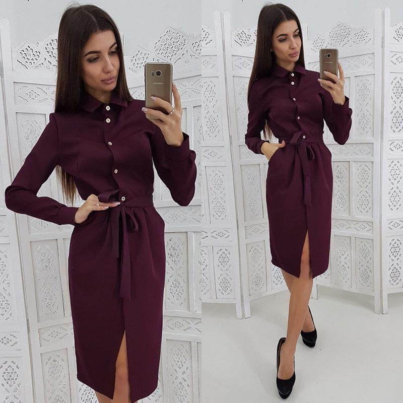 Women Sashes Straight Party Dress Long Sleeve Turn Down Collar Split Sexy Elegant Dress 2019 Button Midi Dress Vintage Pockets