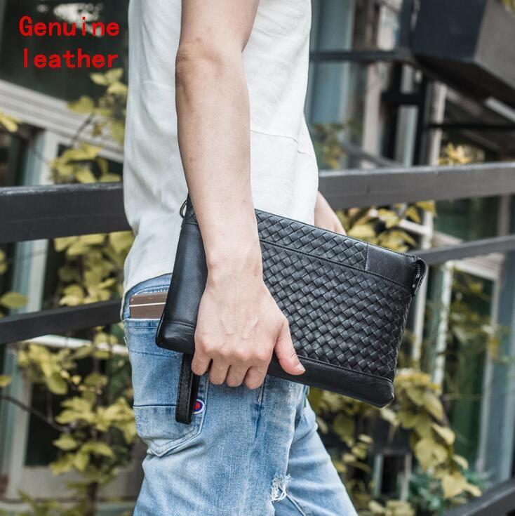 Factory wholesale men handbag soft and comfortable sheepskin men wrist bag hand woven storage wallet multifunctional leather envelope bag