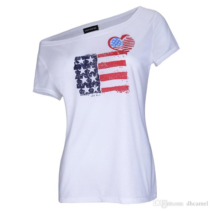 Sommer American Flag Frauen T-Shirt Weiß Herz Print Diagonal Kragen und Schrägkragen Casual Kurzarm T-Shirt