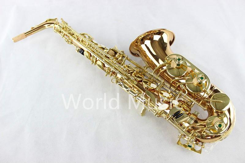 جودة عالية معدلة الاسم ألتو ساكسفون المهنية آلة موسيقية الفوسفور البرونزية الذهب ورنيش سطح ساكس مع القضية