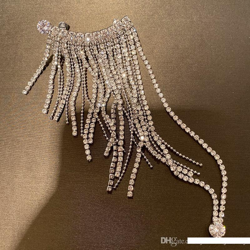 Personality Women Earring White Gold Plated Full CZ Crystal Long Tassels Earring Clip for Girls Women for Party Wedding Nice Gift