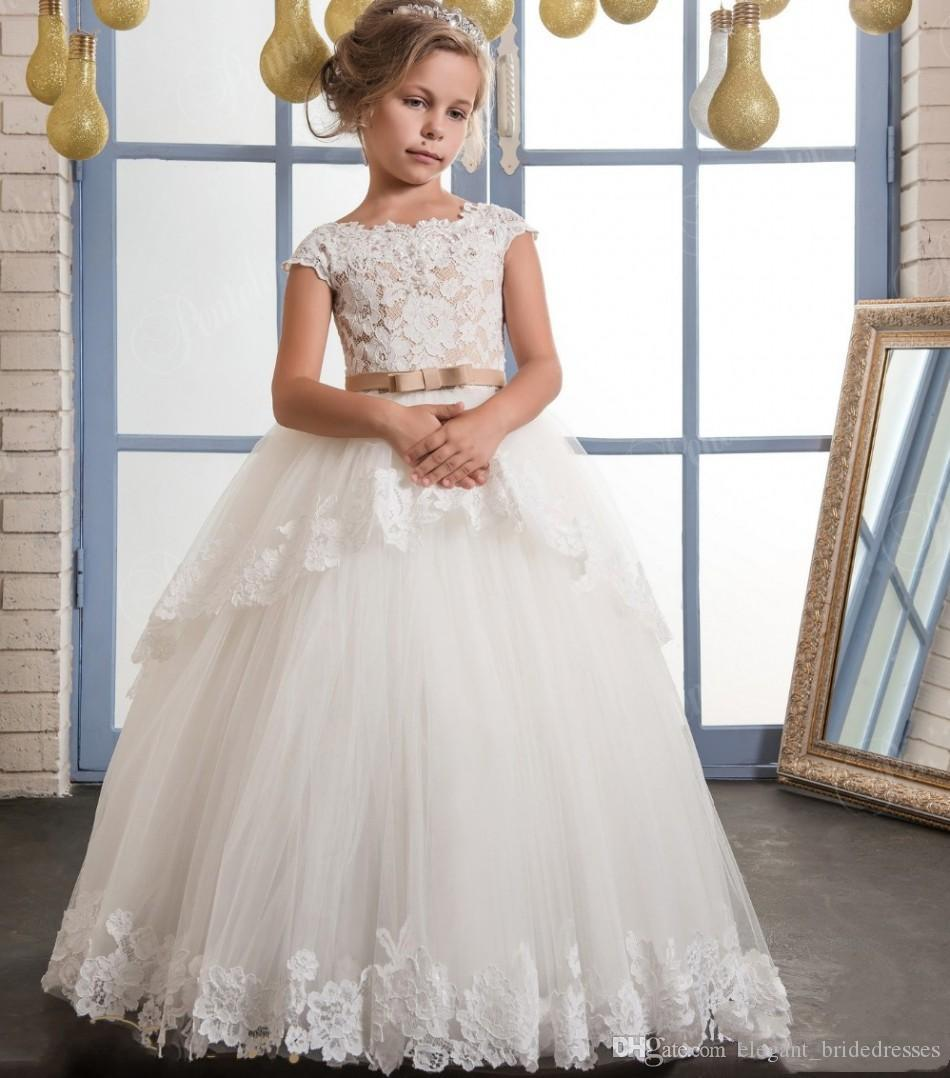 2019 Vintage Lace Puffy Flower Girl Dresses For Weddings ...  Ivory Lace Vintage Flower Girl Dress