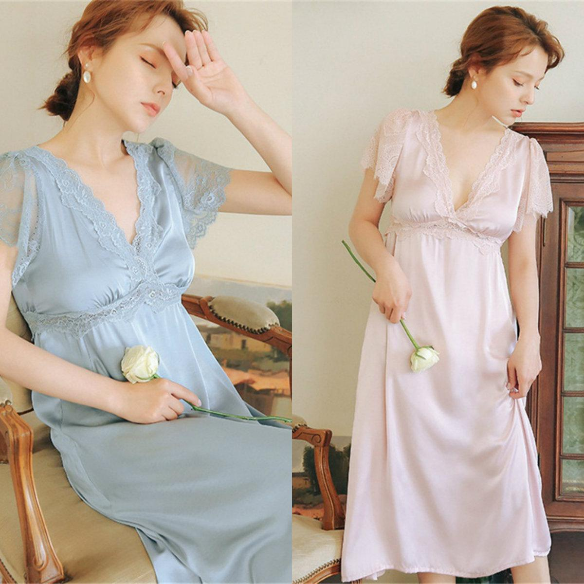 Elegant Cheap Wedding Robes V-neck Short Sleeve Lace Silk Satin Night Gown For Women Ruched Knee-length Custom Made Pajamas Hot Sale