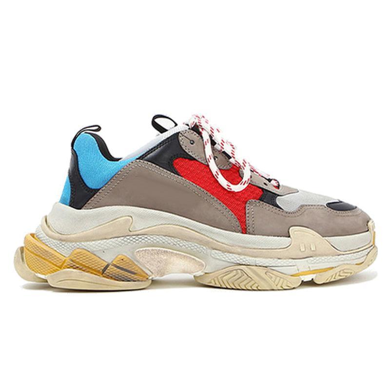 Triple-s della moda di Parigi 17FW tripla s Sneakers per gli uomini delle donne nero rosso bianco verde casual papà scarpe da tennis aumentando sneakers con scatola