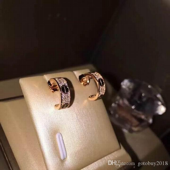 2019 패션 고품질의 beautifull 다이아몬드 스테인레스 스틸 luxery 크리스탈 귀걸이 골드 스테인레스 스틸 클래식 사랑 귀걸이에 대한 여성