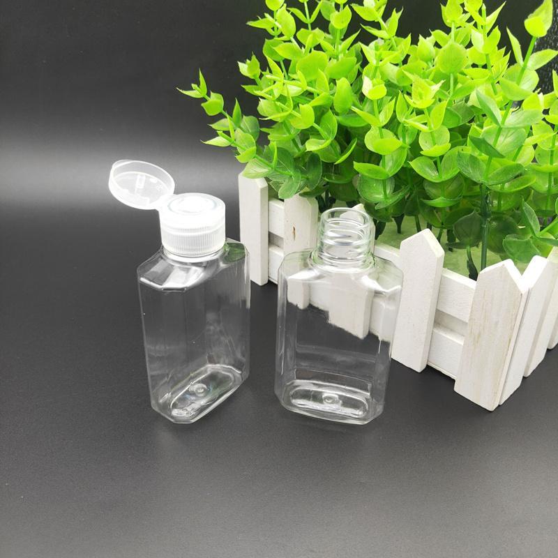 2019 60ML Plastik Alkol Doldurulabilir E Sıvı Seyahat için Temizle Şeffaf PET Plastik El Temizleyici Şişeler taşıması kolay Şişe boşaltın