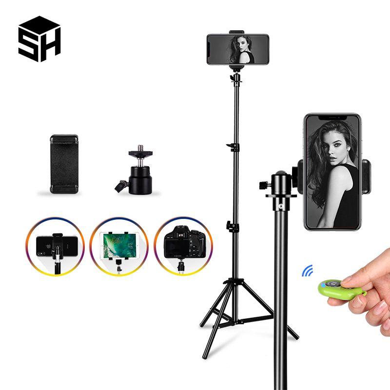 전화를위한 저렴한 삼각대 1/4 스크루 헤드 유니버설 휴대용 알루미늄 셀카 삼각대 원격 제어를 마운트 디지털 카메라와 블루투스 스탠드