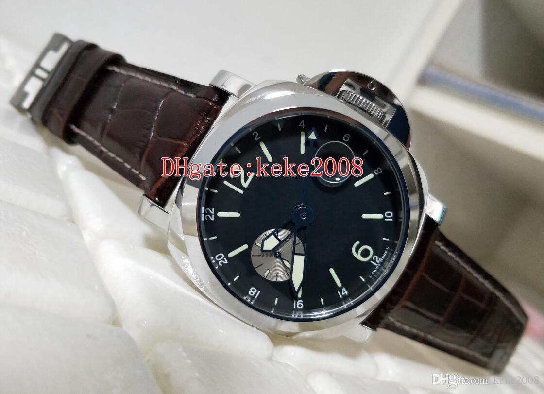 Artículos calientes top de pulsera Moda 44mm GMT de acero inoxidable Correa de Brown del reloj para hombre Relojes Caja Origina transparente mecánico automático