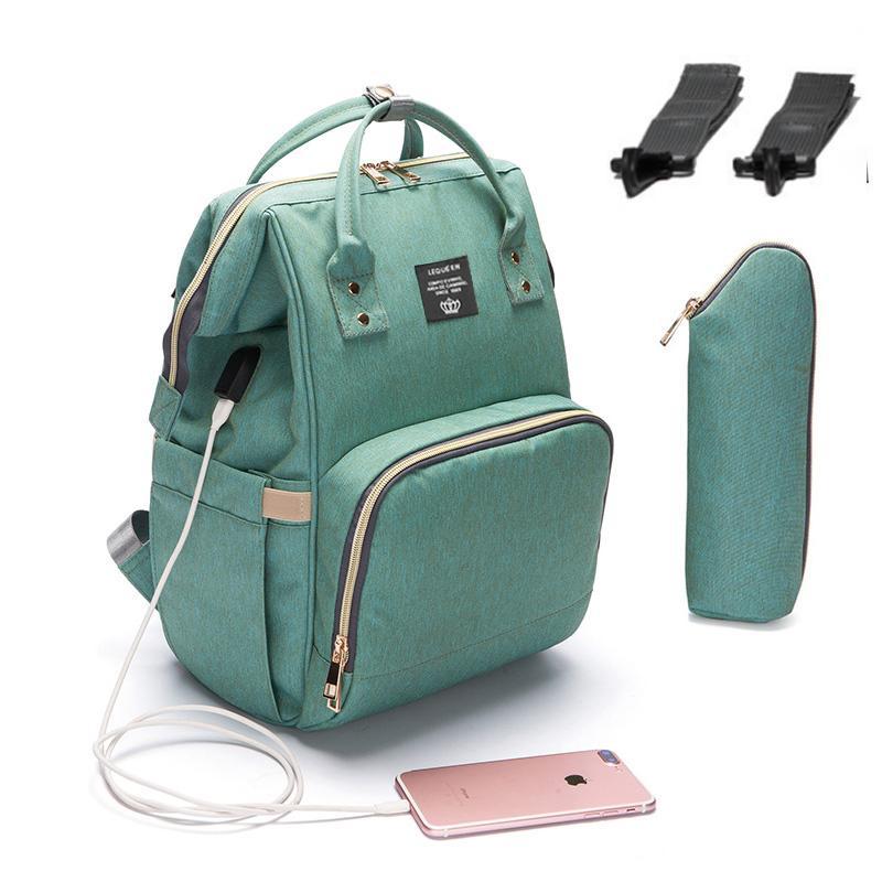 Interface de 2019 do tecido do bebê saco com USB de grande capacidade impermeável Fralda Bag Kits Mummy Maternidade Viagem Backpack Enfermagem Handbag