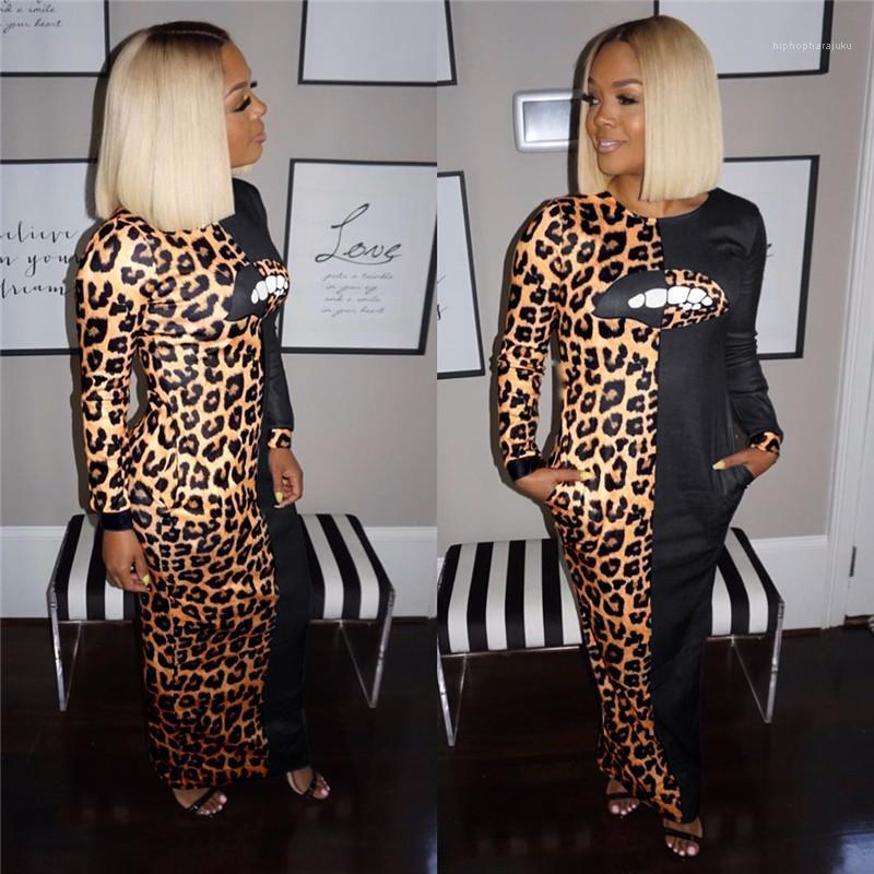 Rundhalsausschnitt und Bleistift-Kleider Art und Weise Frauen-Partei-Kleider Leopard Panelled Frauen Kleider Lippen Drucken Nachtclub reizvolle dünne langärmelige