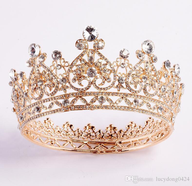 Lujo novia Tiaras alta calidad de plata y oro Rhinestone Crystal Crown The Queen Diamond Princesa de pelo de plata brillante accesorios