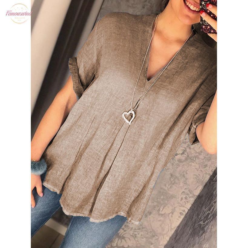 Mode d'été en coton lin Blouse dames en vrac solide col en V Tee Tops Femme Femmes Chemise à manches courtes Blusas Femininas Vêtements