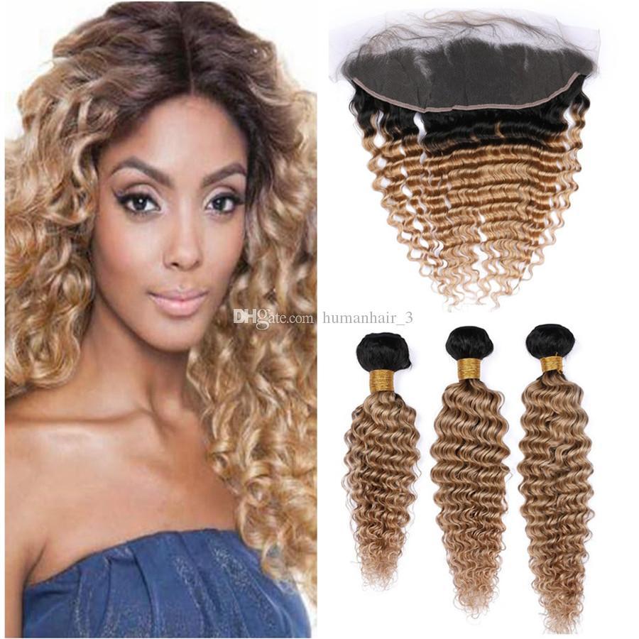 Deep Wave 1b 27 Honey Blonde El cabello humano se teje con las extensiones de cabello de la Virgen de Malasia Frontal del cordón 3pcs con el cierre frontal del cordón