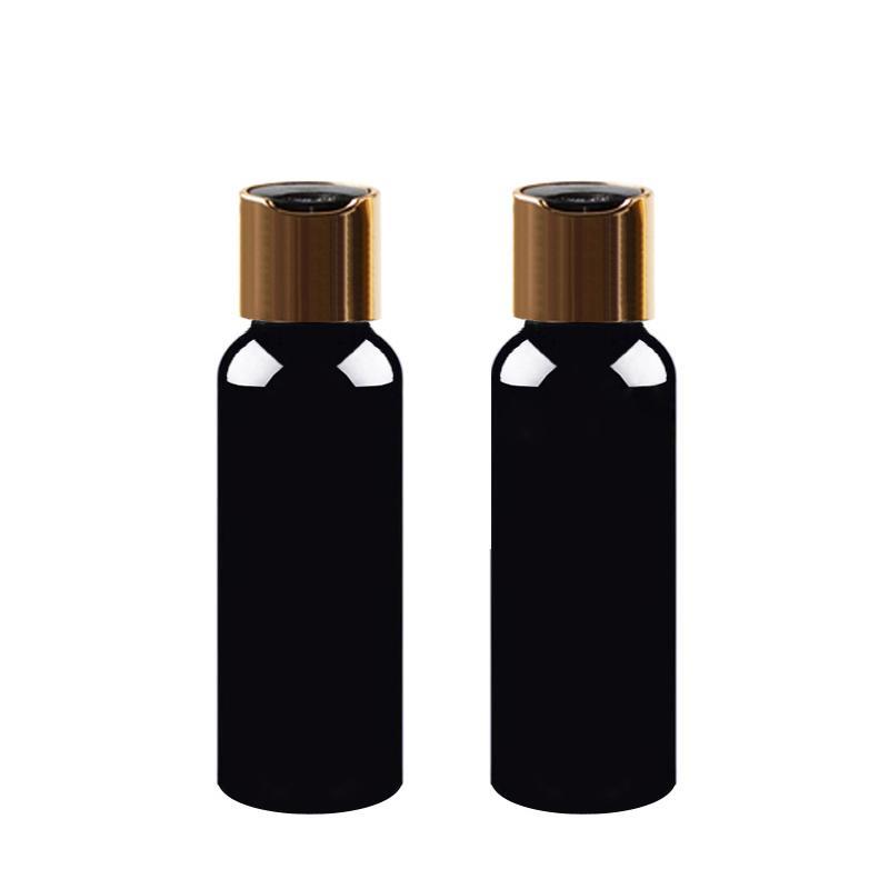 100/150/200/250 ملليلتر مستحضرات التجميل غسول زجاجة بلاستيكية سوداء فارغة مع الذهب القرص المسمار غطاء شامبو حاويات pet ، تغليف مستحضرات التجميل 100 قطع