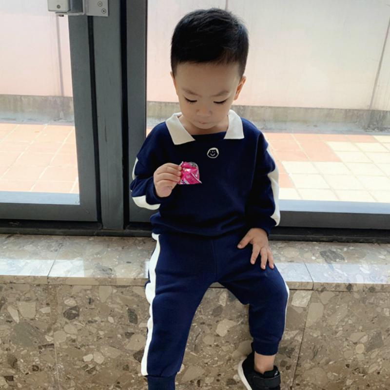 gençlerin kış seti çocuklar yumuşak giyim erkek okul kıyafeti mavi Noel giysileri ayarlamak Bebek çocuk giysileri