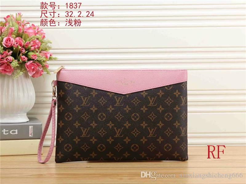 bolsos de cuero de los hombres del diseñador del embrague de las mujeres bolsas de compras del totalizador del monedero del bolso del bolso cartera L1837 buena calidad