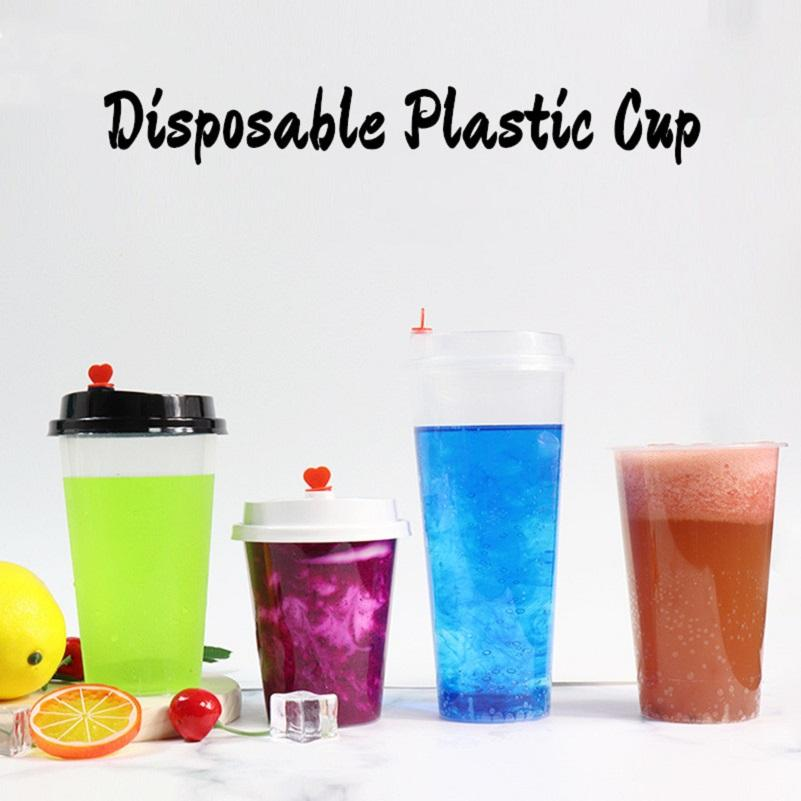FedEx 12oz Disposable Plastic Juice Cup with Heart Lid Frosted Milk Tea Cups Food Grade PP Beverage Container Thicken Transparent Drinks Mug
