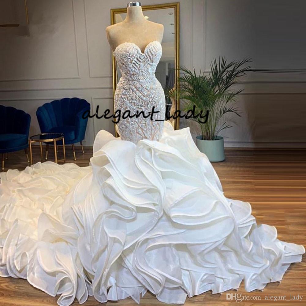 Sparkle Sereia De Cristal Vestidos De Casamento 2019 Lush Inferior Ruffles Em Camadas Catedral Train Nupcial Do Vestido De Noiva Lace Up Vestido De Noiva