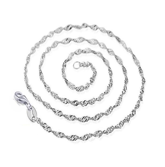 Hot 925 sterling silver Plated 2MM double water wave chain size 16 to 24inch DC16 new 925 silver plate Lobster Clasps Smooth Chains Necklace