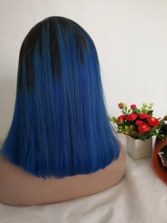 1B Azzurre Corte Pixie Capelli Bob parrucche glueless colorato parrucca anteriore del merletto 150% della densità Pre pizzico peruviana diritta Ombre parrucca per Black Women
