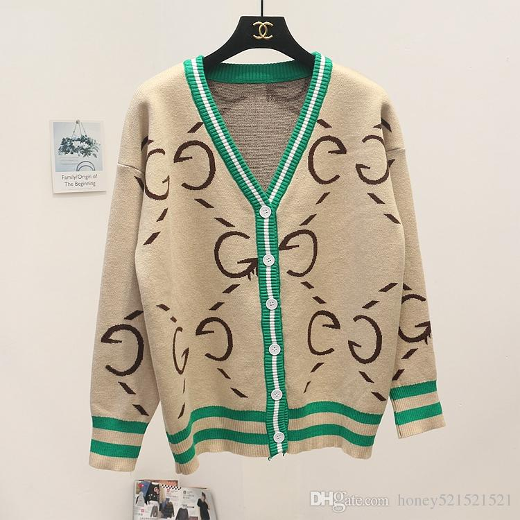 2019 nuevo otoño invierno o-cuello manga larga logotipo de la letra de impresión de moda de punto cálido bloque de color con cuello en v suéter cardigan abrigo