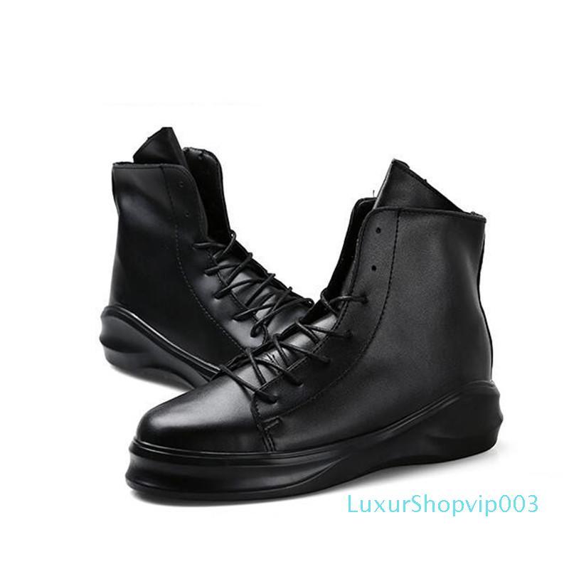 Un des hommes de bottines en cuir Zipper hommes chaussures de travail de la mode masculine chaussures moto Casual semelle épaisse marée plate-forme bottes Harajuku pour les hommes