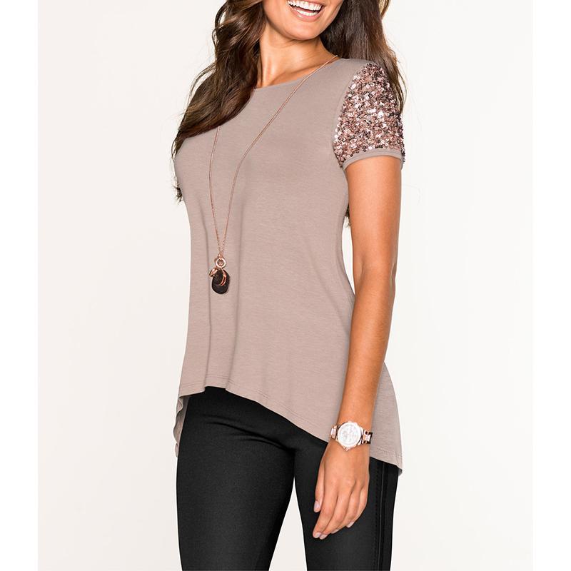 Kadınlar Giyim Kadın Gömlek Petal Sleeve Yaz Kadınlar Pullu Moda Kadın Kısa Kollu T Shirt Giyim CAMISAS Mujer Ws9565v Tops