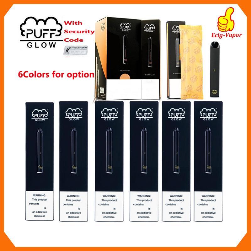 Nouveau SOUFFLE BAR GLOW jetable Appareil pods préremplies Starter Kit batterie 280mAh de cartouche Vape Pen Code de sécurité LED Vaporisateurs