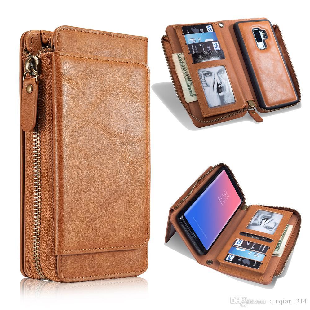 Skórzana obudowa portfela do iPhone XS Max XR X 8 Plus Samsung S8 S9 Plus Note 9 Karta Kieszeń Klapka Pokrywa Ochronna Case