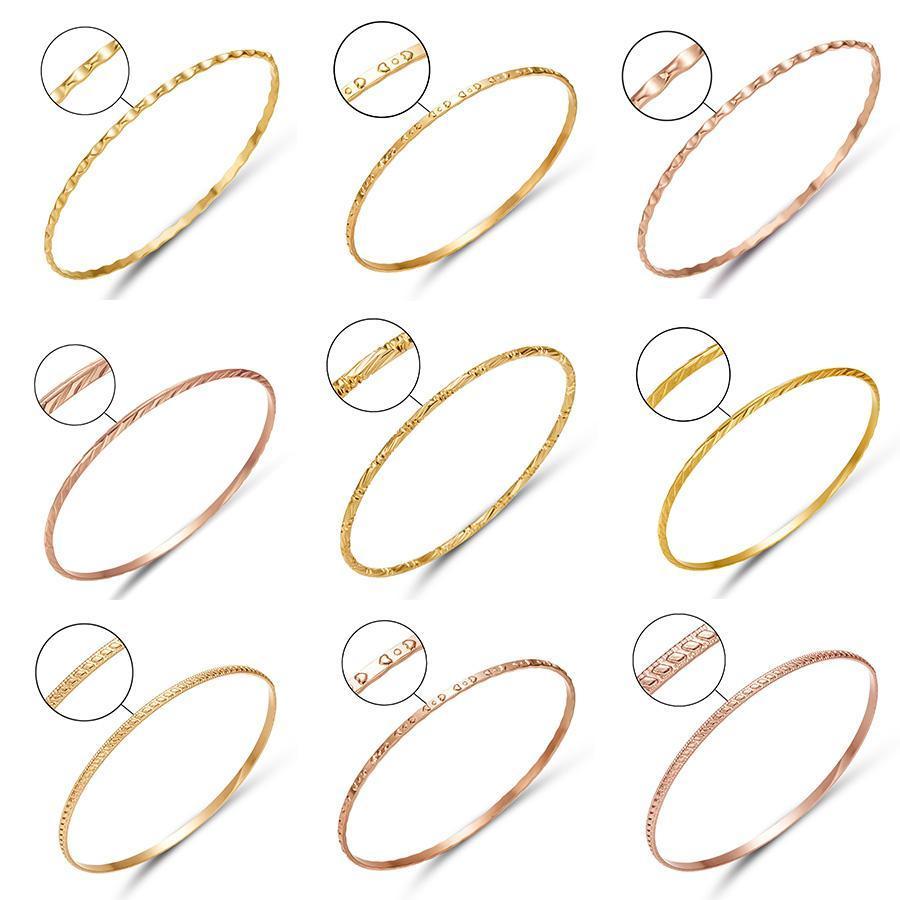 Rinhoo mode d'or Couleur alliage bracelet en or rose Emboss mariage métal charme Bracelet de grain partie de bijoux cadeau pour les femmes