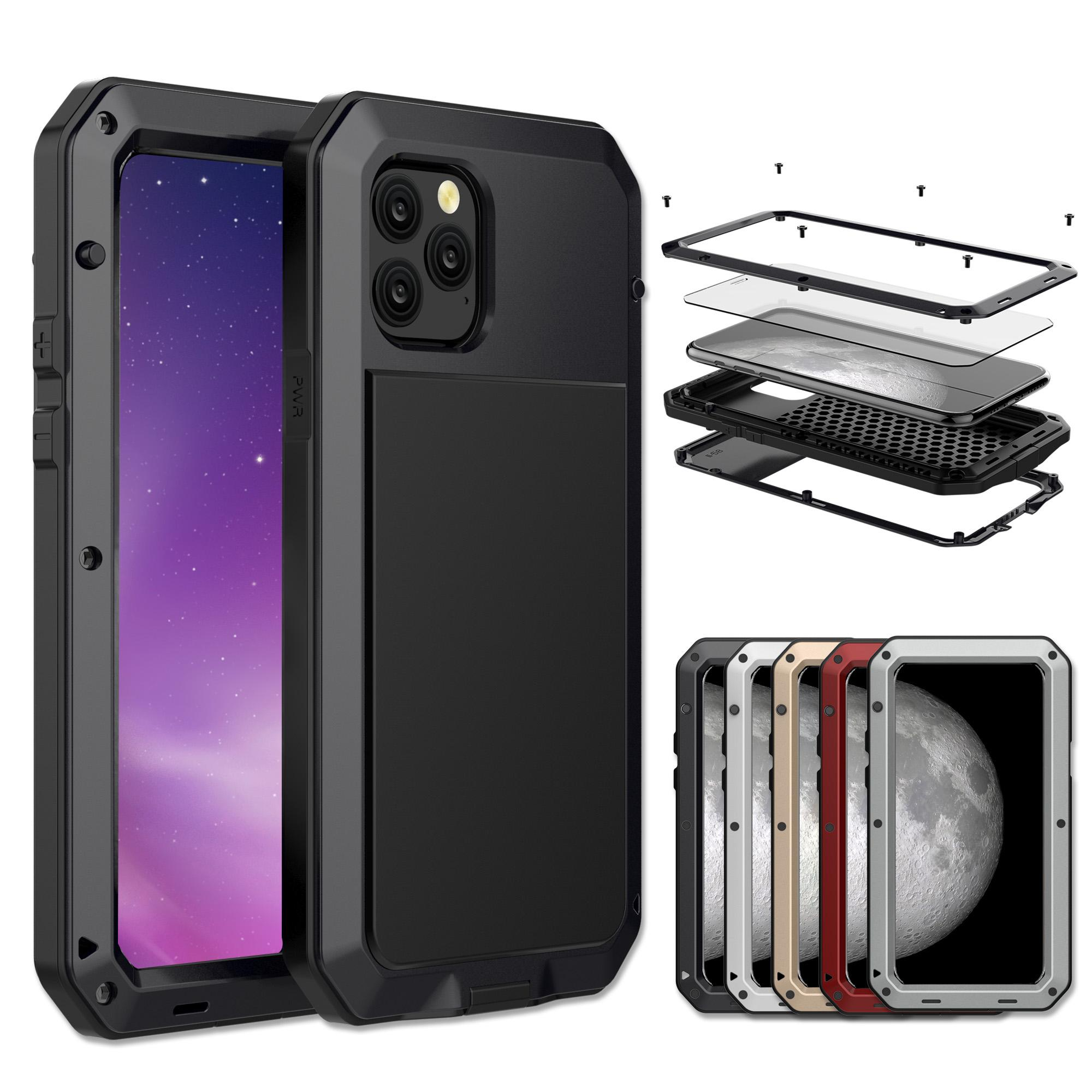 Tempered glass+Metal Aluminum armor phone Case for iPhone 11 Pro XS MAX XR X 7 8 6 6S Plus 5S 5C 5 SE Full Body Shockproof Cover