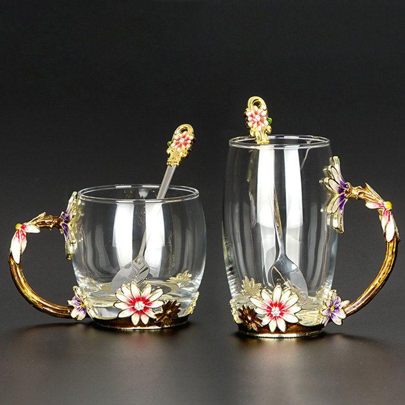 Yaratıcı Isıya Dayanıklı Kristal Cam Kupa Emaye Cam Kupa Çiçek Çay Seti Kahve Fincanı Su Süt Kahve Drinkware Hediye Sıcak Satışlar için