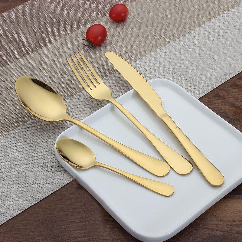 Yeni Paslanmaz Çelik Altın Sofra Takımı Setleri Kaşık Çatal Bıçak Çay Kaşığı Yemek Seti Mutfak Bar Geriye 4 Stil Setleri WX9-377