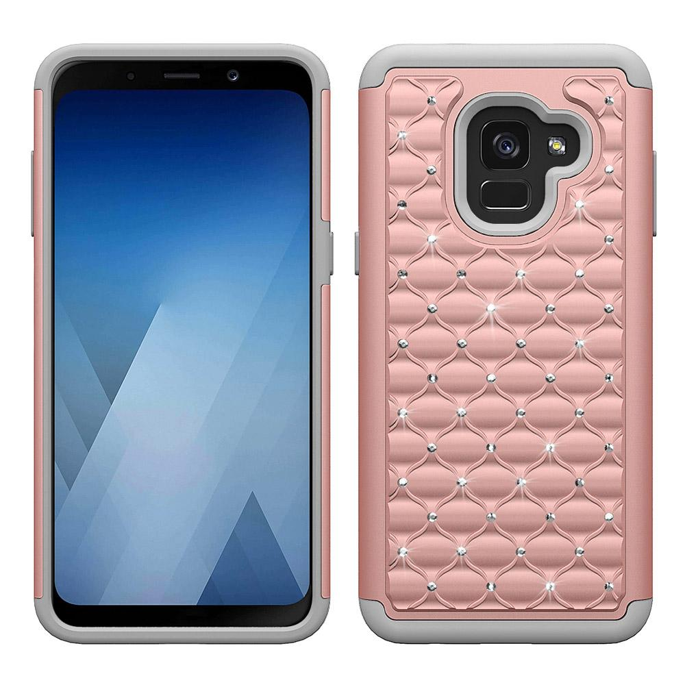 Clouté Crystal Clear bling diamant Sparkly luxe amortissante Case Hybrid Defender robuste Slim Glitter pour Samsung A8 plus 2018