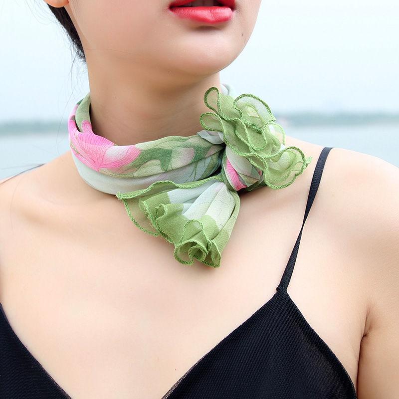 여자 한국어 스타일 인공 실크 쉬폰 나무 귀 스카프 전문 스카프