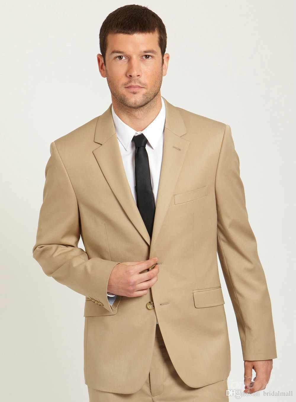 Due pezzi Beige Wedding Men Tute Sulched Risvolto Trim Fit Groom Tuxedos Migliori uomini Formale Party Suit Groomsmen Suits Blazer Coat (Giacca + Pantaloni)