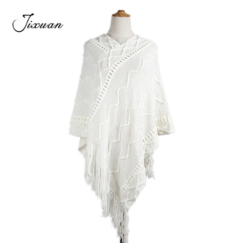 2018 Spring Fashion Women Scarves Cotton knitted Striped Pashmina Warm Poncho female tassel Shawls Capes Winter female Scarf