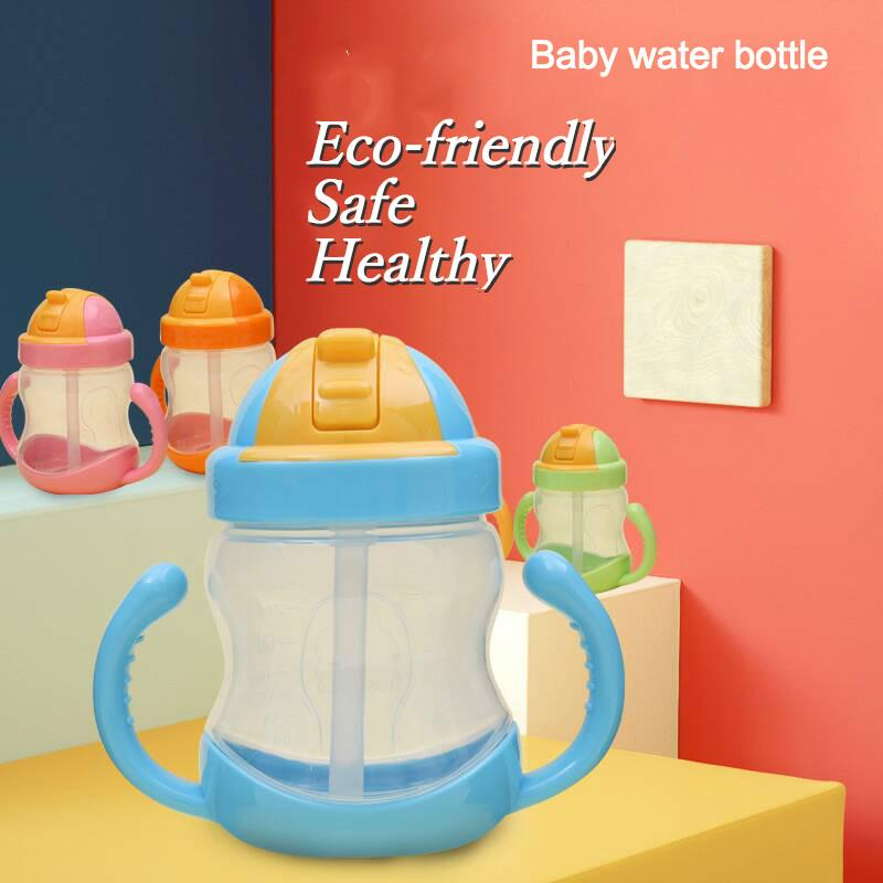 Eco-friendly Kid baby Water Bottle With Straw 280ml Healthy Water Cup for Baby Milk Bottle Inverted Leakproof Child